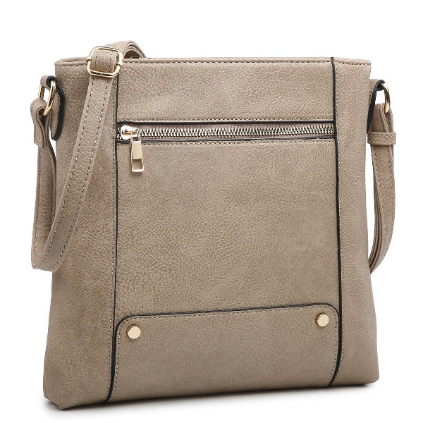 Front Zip Pocket Crossbody Stone
