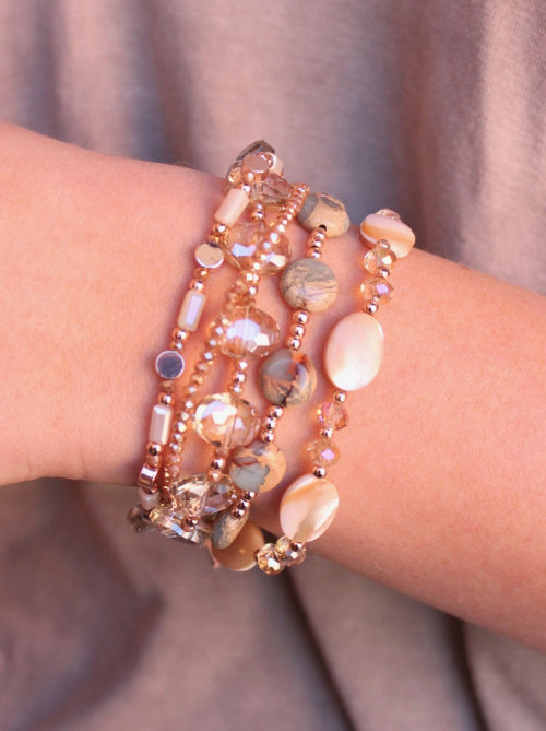 Rowan Multi Strand Natural Stone And Mother Of Pearl Bracelet Natural