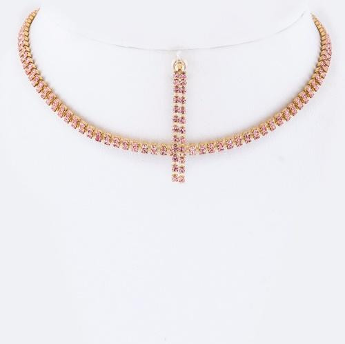 Two Row Rhinestone Choker Set Rose Gold