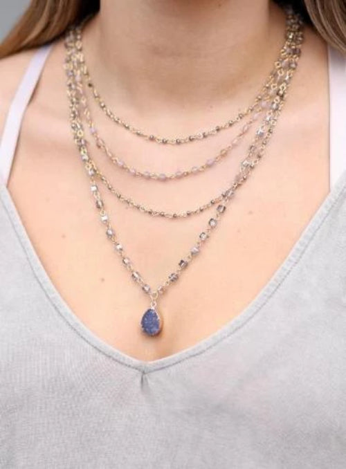 Terence Multi-Layer Glass and Stone Necklace with Druzy Drop