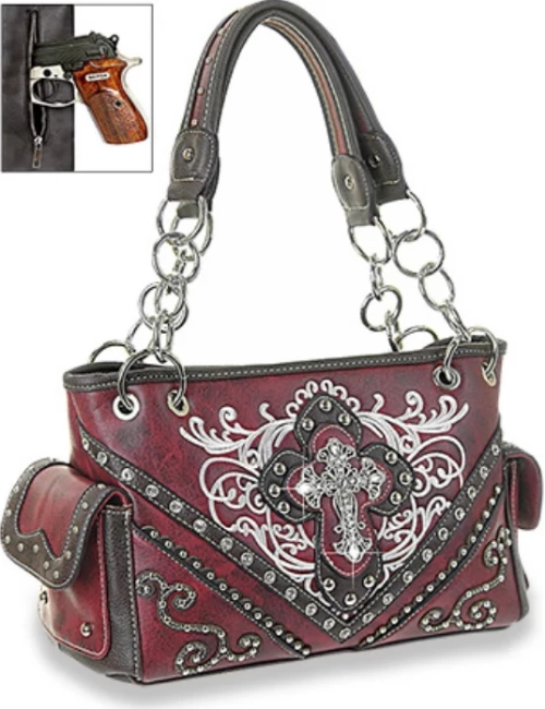 Western Rhinestone Cross Handbag Red