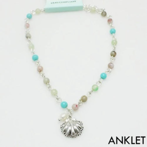 Beaded Ankle Bracelet with Charm Seashell