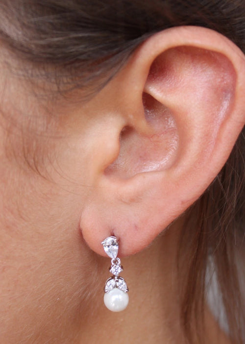 Myrna Pearl And CZ Post Drop Earring Silver
