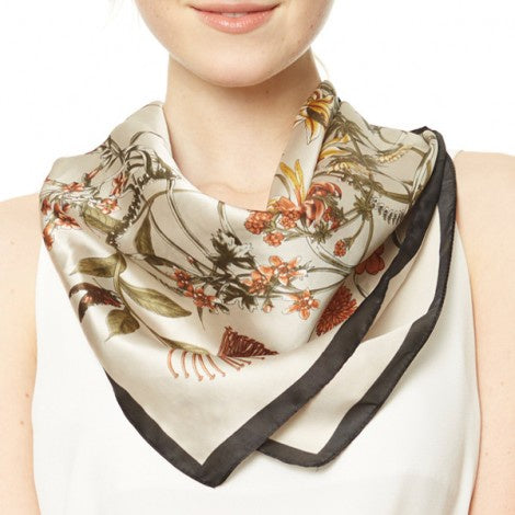 Floral Print Square Scarf Brown