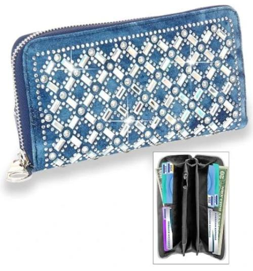 Rhinestone Design Denim Accordion Wallet