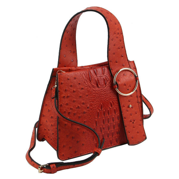 Ostrich/Croc Buckle Top Handle Satchel Orange