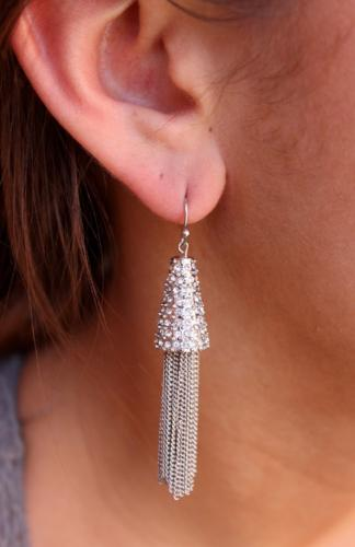 CZ Encrusted Cap with Short Chain Tassel Silver
