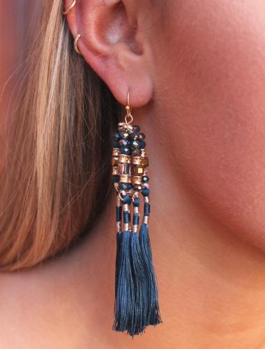 Bara Glass Bead and Thread Wrapped Tassel Earrings Teal