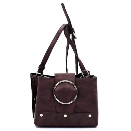 Ring Buckle Crossbody Satchel Wine