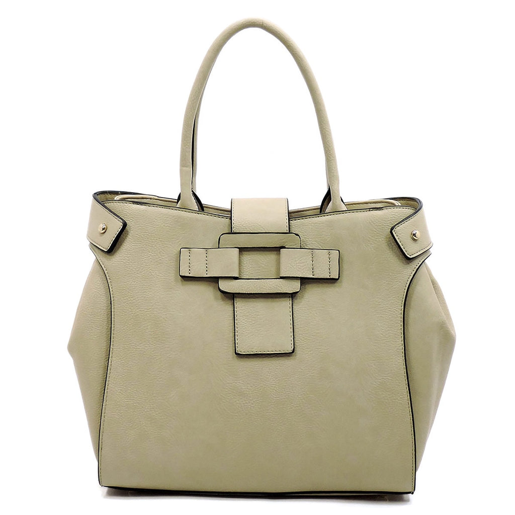 Stylish Buckle Satchel Tan