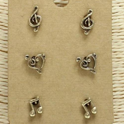 Music Stud Earring Set Antique Gold