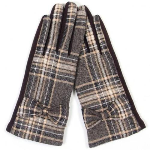 Plaid w/ Ribbon Accent Smart (Texting) Glove Brown
