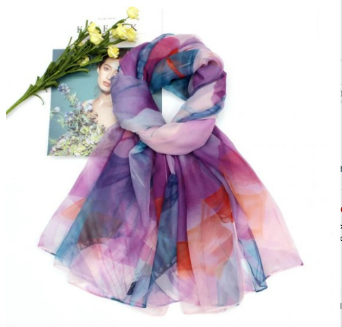 Colorful Silk Feel Scarf Purple