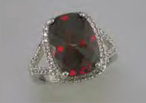 Silver/Garnet CZ Ring with CZ Accents