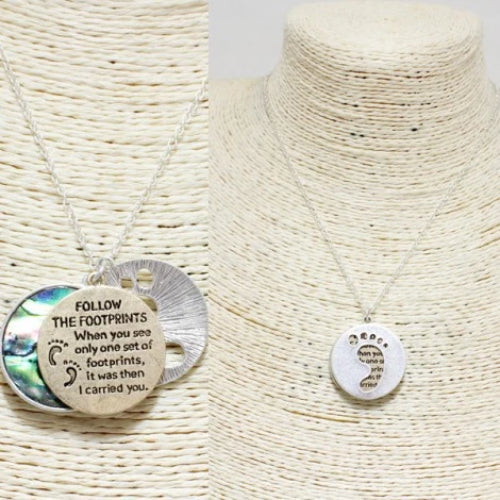 """Foot Prints"" Pendant Necklace"