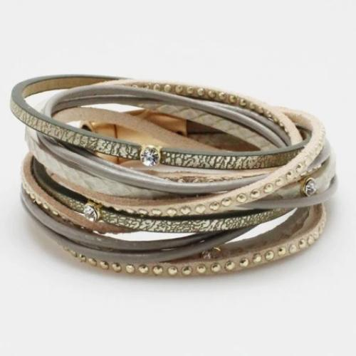 Magnetic Leather Wrap Bracelet Grey