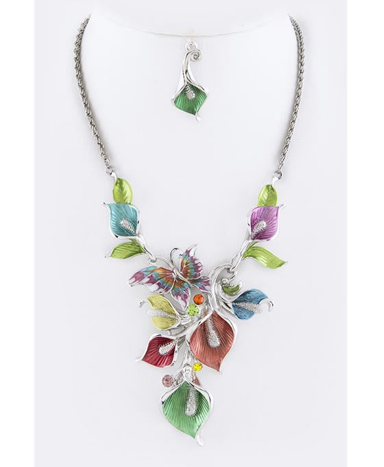 Floral Statement Necklace Set Multi