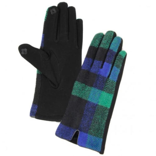 Plaid Smart Glove Navy