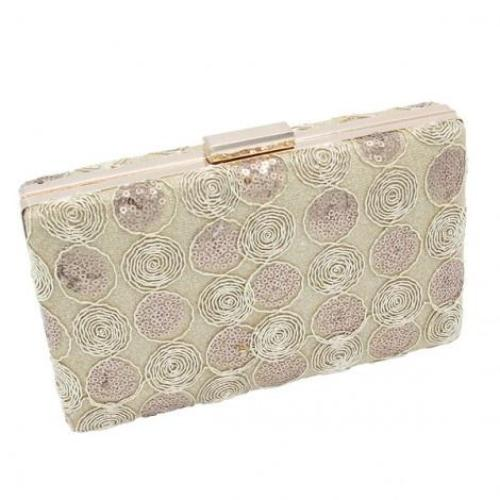 Swirl Sequin Evening Bag Gold