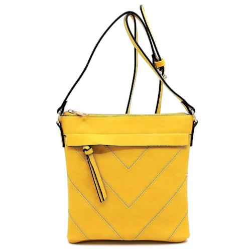 Chevron Patchwork Crossbody Yellow