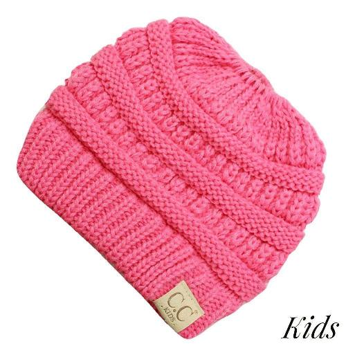 C.C Kids Messy Bun/Ponytail Beanies Candy Pink