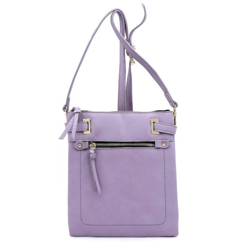 Front Zip Pocket Crossbody Bag Purple