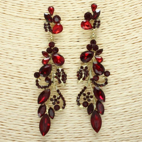 Beautiful Gold & Ruby Red Earrings