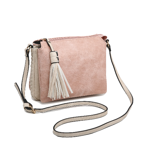 Tassel Accent Whipstitched 3-Compartment Crossbody Pink