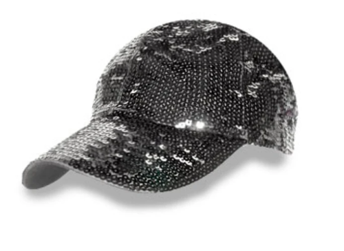 Sequined Fashion Cap Black