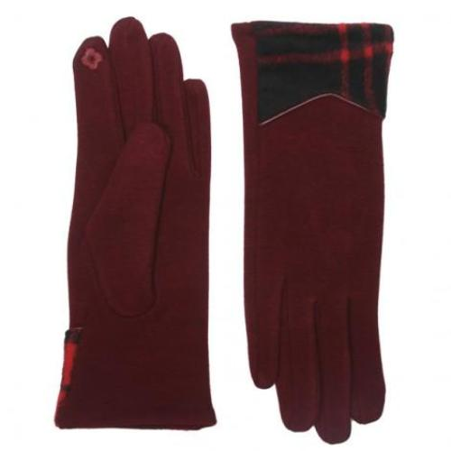 Plaid Edge Texting Gloves Burgundy