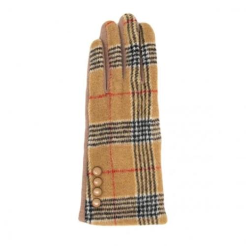 Plaid Smart Glove with Button Accent Beige