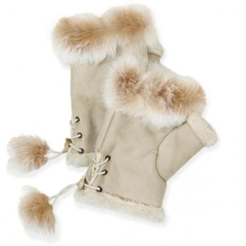 Fingerless Gloves with Fur Trim