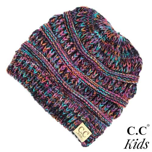 Multi-Color Messy Bun Beanie for Kids