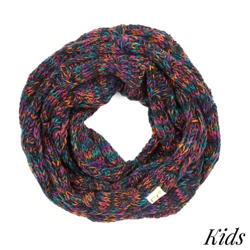 Multi-Color Cable Knit Infinity Scarf for Kids