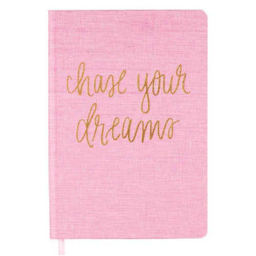 Chase Your Dreams Pink/Gold Fabric Notebook