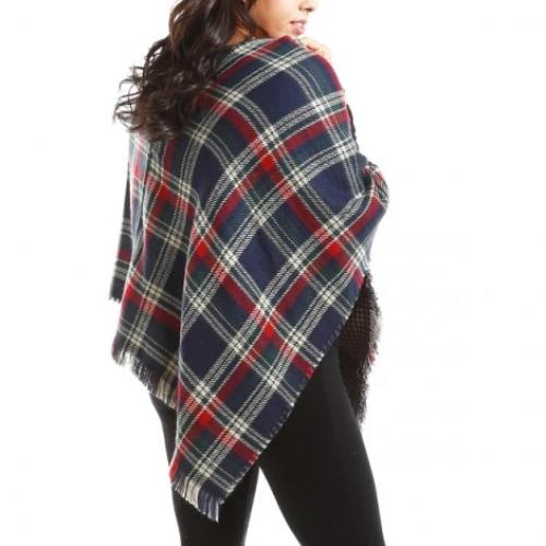 Multi Plaid Poncho Navy