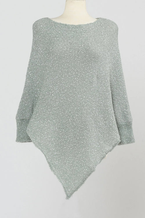 Speckled Poncho with Sleeves Sage
