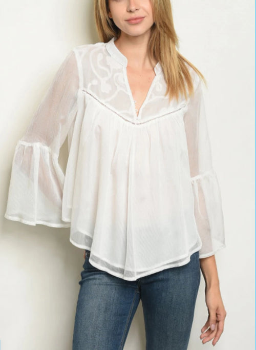Bell Sleeve V-neck Lace Detail Tunic White