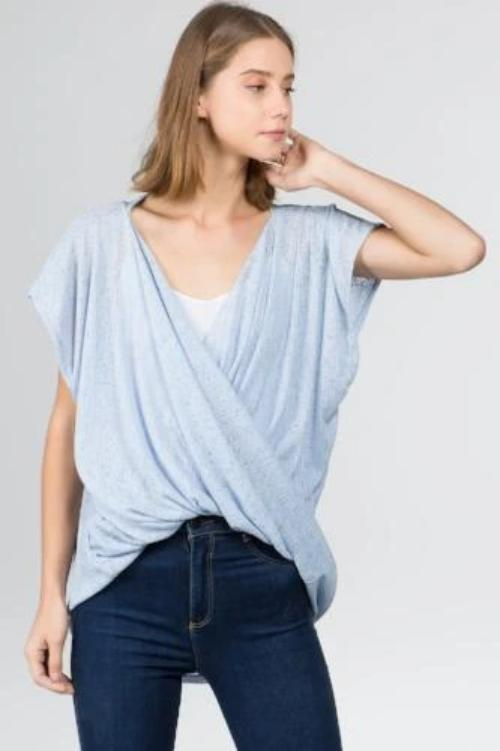 Sheer Knit Top Blue
