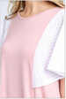 Solid Round Neck Knit Top with Contrast Sleeves close up