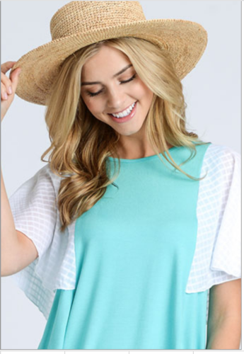 Solid Round Neck Knit Top with Contrast Sleeves Teal