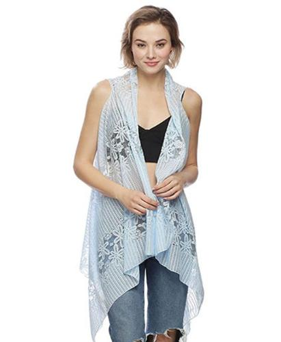 Lace Poncho/Cover Up Blue