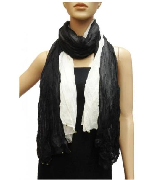 Light Weight Two Tone Scarf Black/White