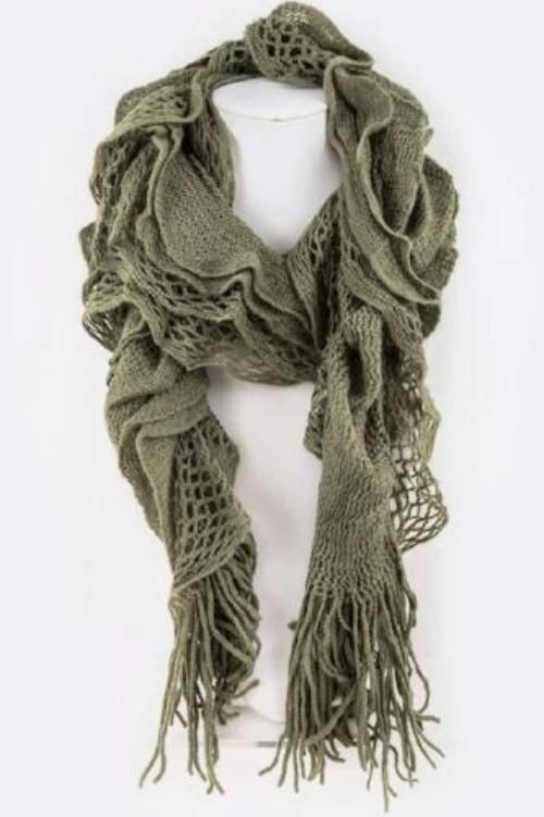 Loose Crochet Mix Knit Ruffle Winter Scarf Olive