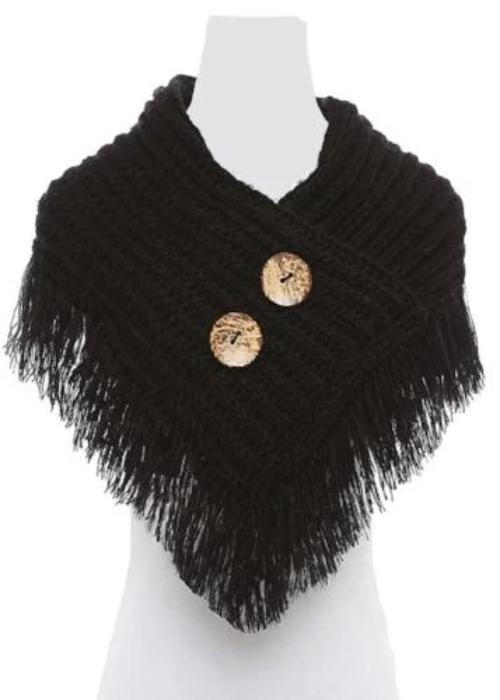 Trendy and Stylish Button/Fringe Accented Scarf/Shawl Black