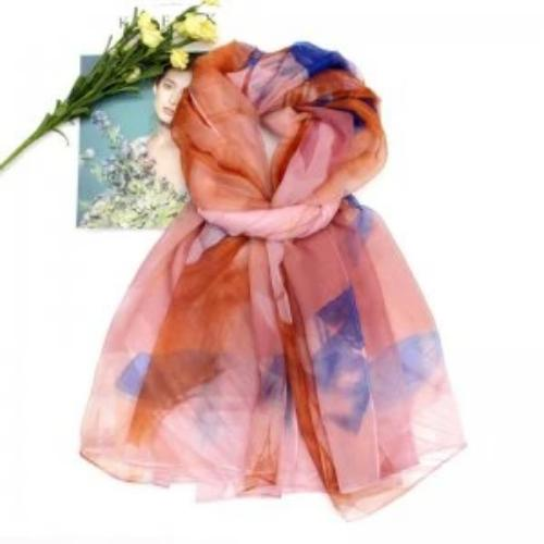 Colorful Silk Feel Scarf Red