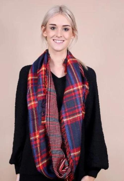 Tinsley Tartan Plaid Infinity Scarf Navy