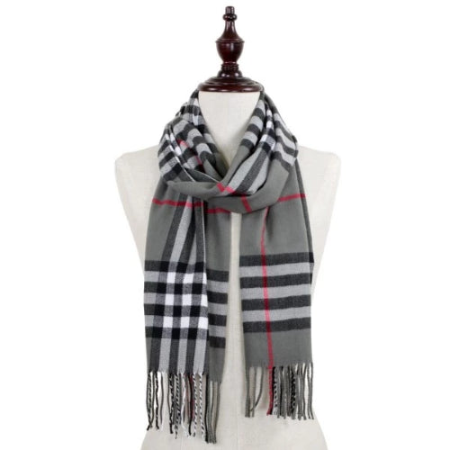 Plaid Scarf with Fringe Gray