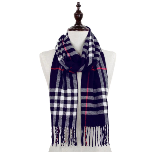 Plaid Scarf with Fringe Navy