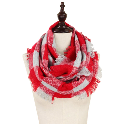 Buffalo Check Woven Infinity Scarf Red/Grey